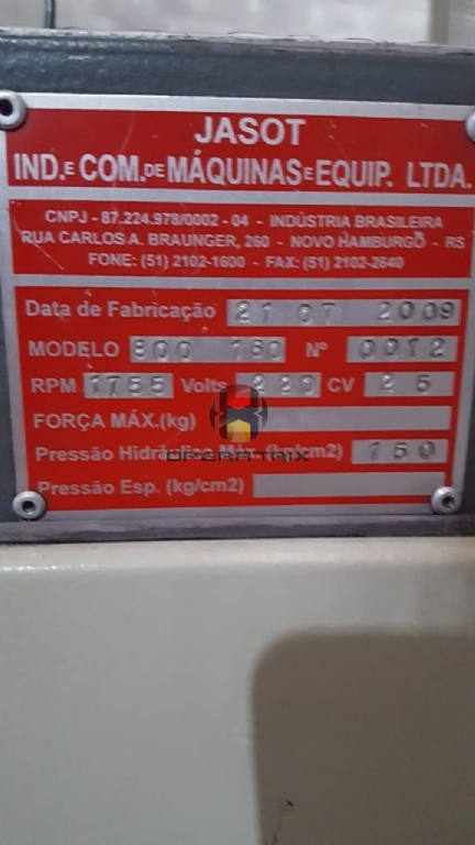 Foto: INJETORA VERTICAL JASOT 800 /160 TONELADAS MESA OSCILANTE ANO 2009