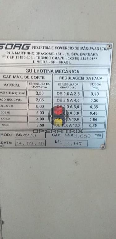 Foto: GUILHOTINA CLP SORG 3000MM X 3/16 - ANO 2010